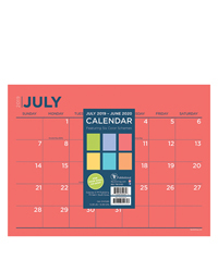 Academic Colorful Mini 9x12 Desk Pad Calendar - July 2019 -June 2020