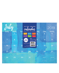 Academic Watercolor Mini 9x12 Desk Pad Calendar - July 2019 -June 2020