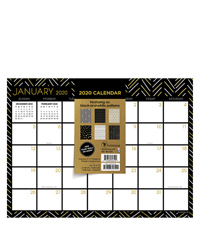 2020 Black White and Gold Mini Desk Pad Calendar