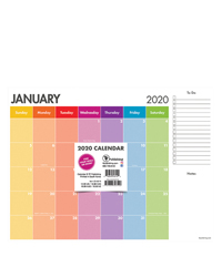 2020 Rainbow Stripe Mini Desk Pad Calendar