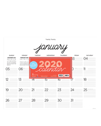 2020 Farmhouse Script Calligraphy Desk Pad Calendar