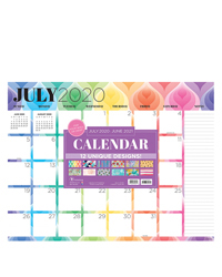 Academic Patterns Large Desk Pad Calendar - July 2020-2021