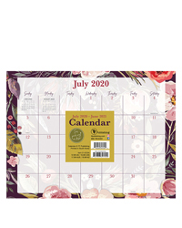 Academic Foliage and Flowers Mini 9x12 Desk Pad Calendar - July 2020-2021
