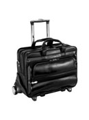 Franklin Leather 2-in-1 Removable Wheeled 17 Inch Laptop Case