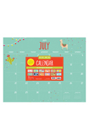 Academic Monthly Themed Large Desk Pad Calendar - July 2019 - June 2020